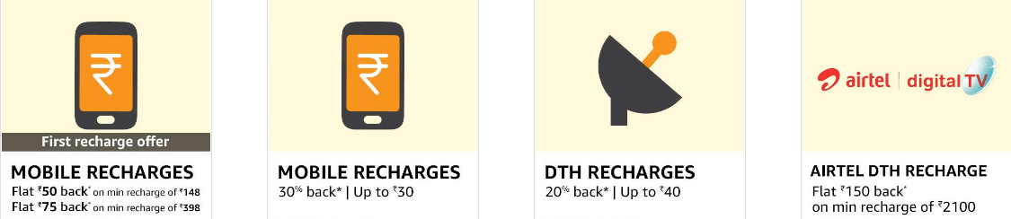 Amazon Recharge Offers August 2019: 100% Cashback Coupons