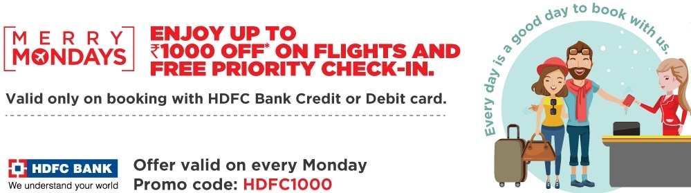 Spicejet HDFC Offers 2019 : Upto Rs 1000 Discount on Flights
