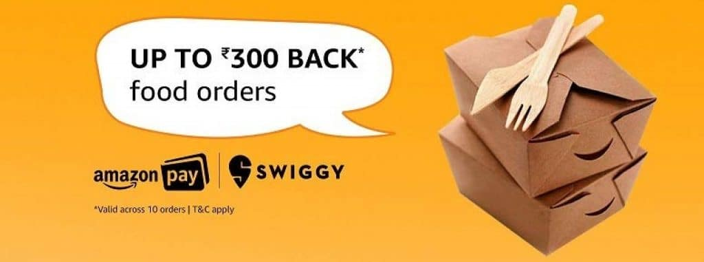 Amazon Pay Swiggy Offers cashback Offer Details