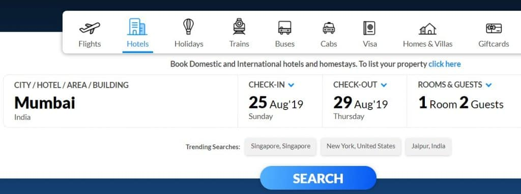 Book Hotel on MakeMyTrip