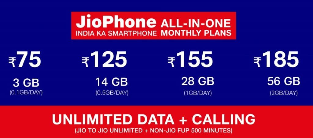 JioPhone All in One Monthly Plans