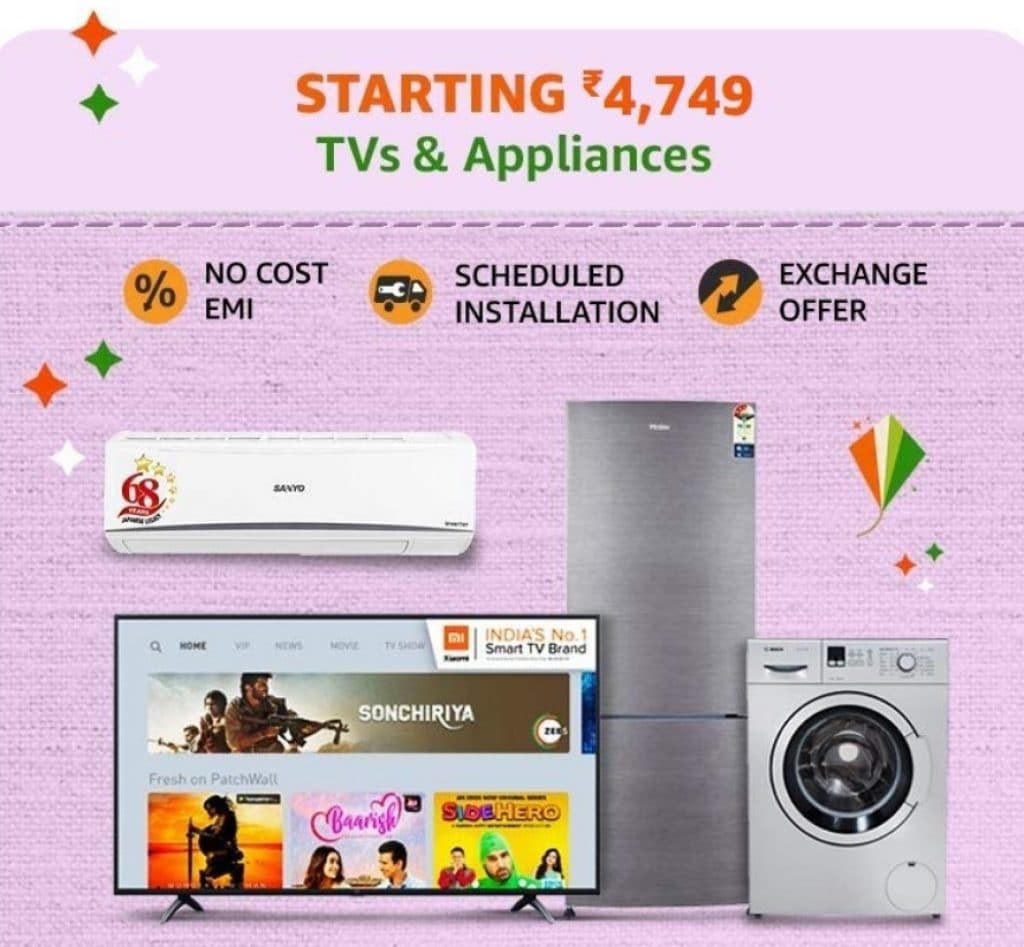 Amazon India Sale Offers on TVs & Appliances