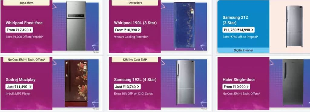Flipkart Offers on Refrigerators
