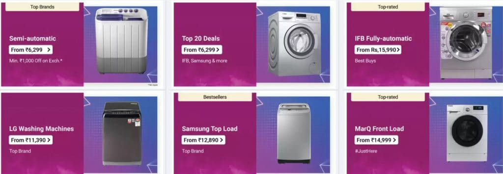 Flipkart Offers on Washing Machines