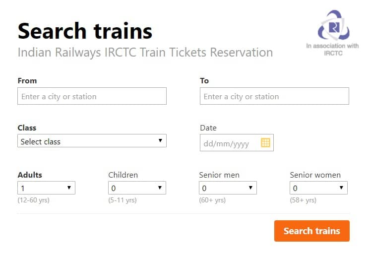Cleartrip train ticket booking