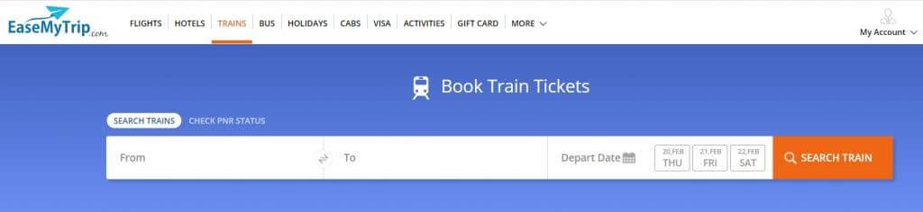 EaseMyTrip Train Booking