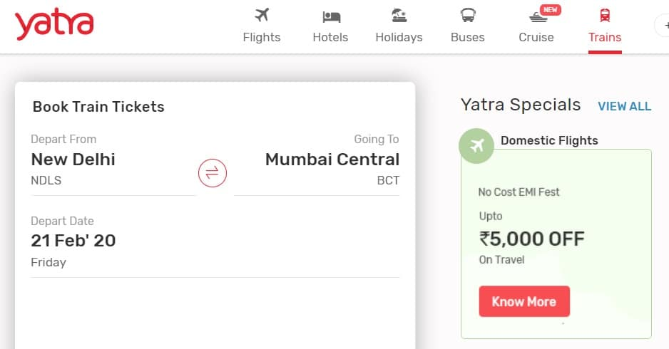 Yatra Train Tickets Booking