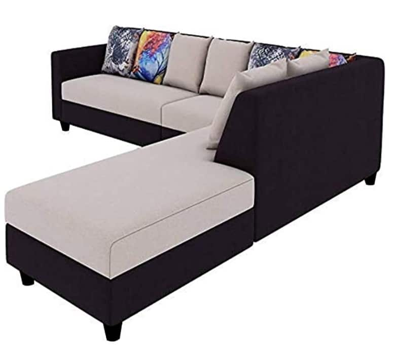 Furny Castilla 6 Seater RHS L Shape Sofa Set Polyester Fabric