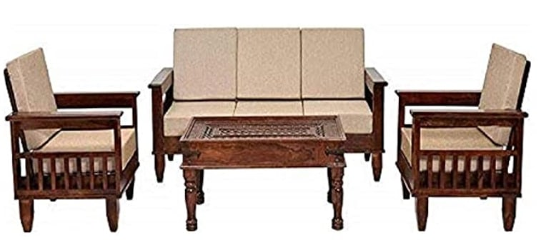 MH DECOART Sheesham Wood 5 Seater Sofa Set for living room