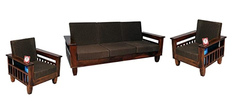 Santosha Decor Sheesham Wood 5 Seater Sofa Set 3+1+1