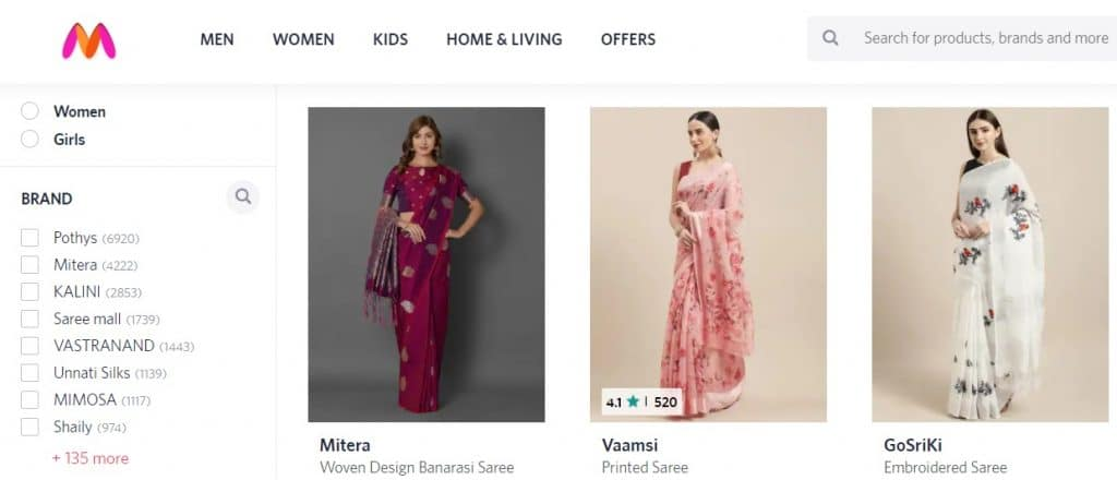 Saree Shopping on Myntra